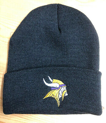 Minnesota Vikings Winter Hat (Minnesota Vikings Black  Cuffed Beanie New Winter Hat)