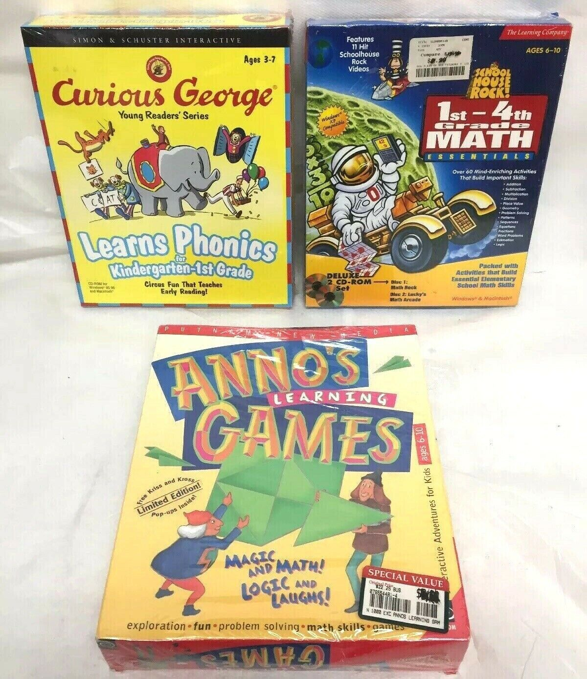 NEW Lot of 3 Children's Computer Games PC Learning Education