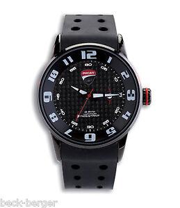 DUCATI CORSE ´14 Uhr Quarz Armbanduhr Watch Silikon Armband schwarz NEU !!