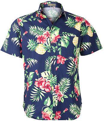 Tropical MAKANI Ananas HIBISKUS Palm Leaf HAWAIIHEMD Slim Fit Blau Rockabilly