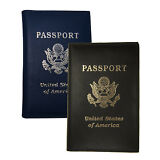 2 Passport Cover Holders Genuine Leather ID Wallet Case Travel  Blue Black New !