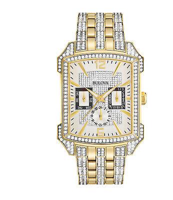 Bulova Men's Quartz 358 Swarovski Crystal Day Date Hour Dial 35mm Watch 98C109