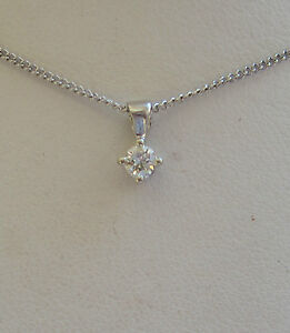 New 1/10 ct Diamond Solitaire 9ct White Gold Pendant Necklace & Chain £99.99