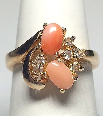 Peach Gemstone - Gold Peach Coral Cocktail Statement Ring Plated Gemstone Size 6 Vintage Style