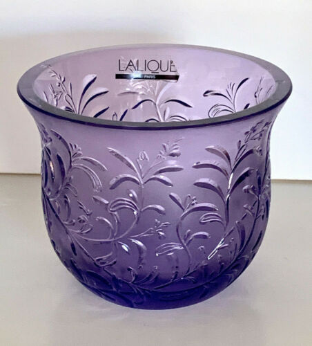 "LALIQUE ROSEMARY BOWL PURPLE 3 1/2"" x 3"""