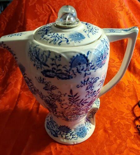 Vintage Ceramic Electric Percolator Blue & White Floral Design Working!