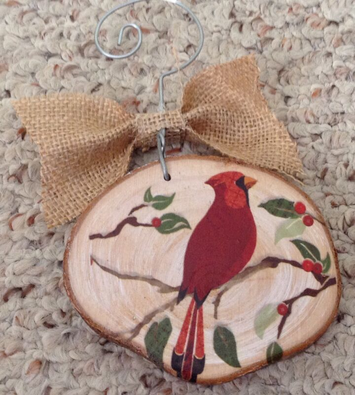 Painted Cardinal Red Bird Christmas Ornament On Tree Slice