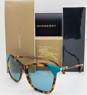 NEW Burberry Sunglasses BE4263 371080 54mm Brown Havana Azure Blue GENUINE 4263 (New Burberry Sunglasses)