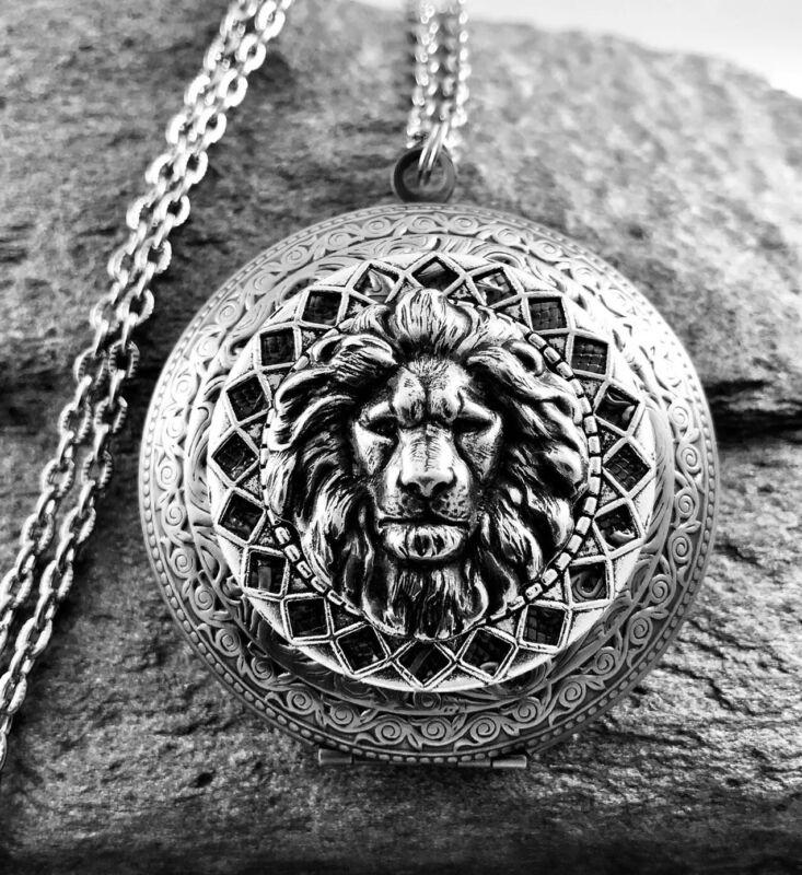 Large LION HEAD Locket Necklace, Antique Silver plt, Art Nouveau Victorian Insp