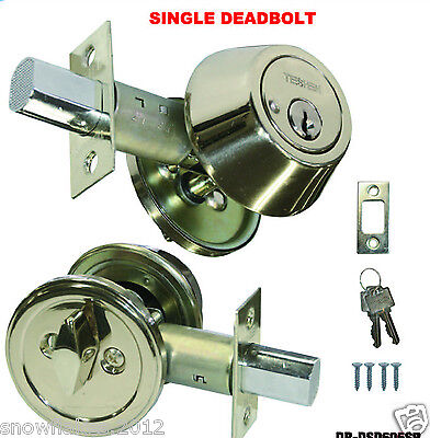 Deadbolt Single Cylinder Stainless Steel Door Lock 2 Keys New