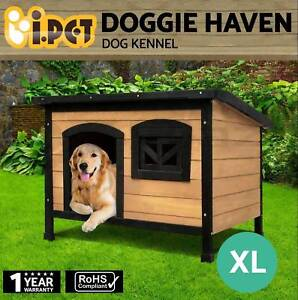 Dog House Pet Kennel Timber Wooden Outdoor Window Elevated Floor