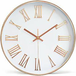 Tebery 12-inch Silent Non-Ticking Round Wall Clocks Decorative Roman Numeral Clo