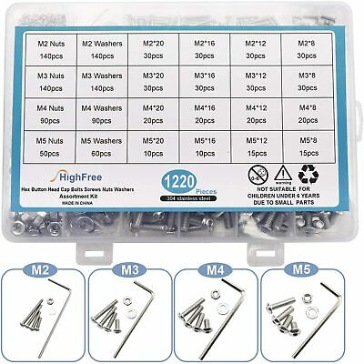 1220pcs Stainless Steel M2 M3 M4 M5 Bolts Screws Nuts Washers Assortment Kit