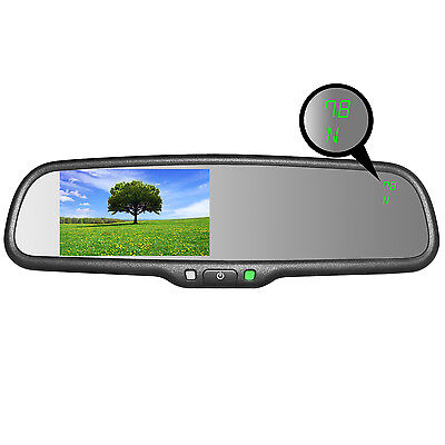 """Master Tailgaters OEM Rear View Mirror with 4.3""""  LCD w/ Temperature & Compass"""