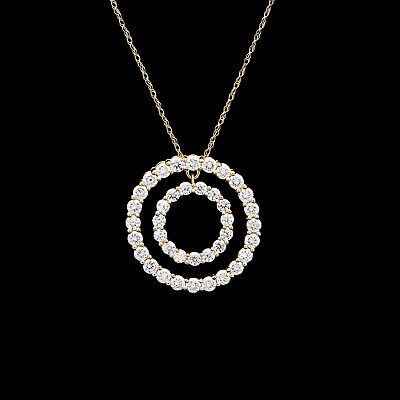Double Circle Open Pendant 2ct. T.W. Created Diamond 14K Solid Yellow Gold 20mm ()