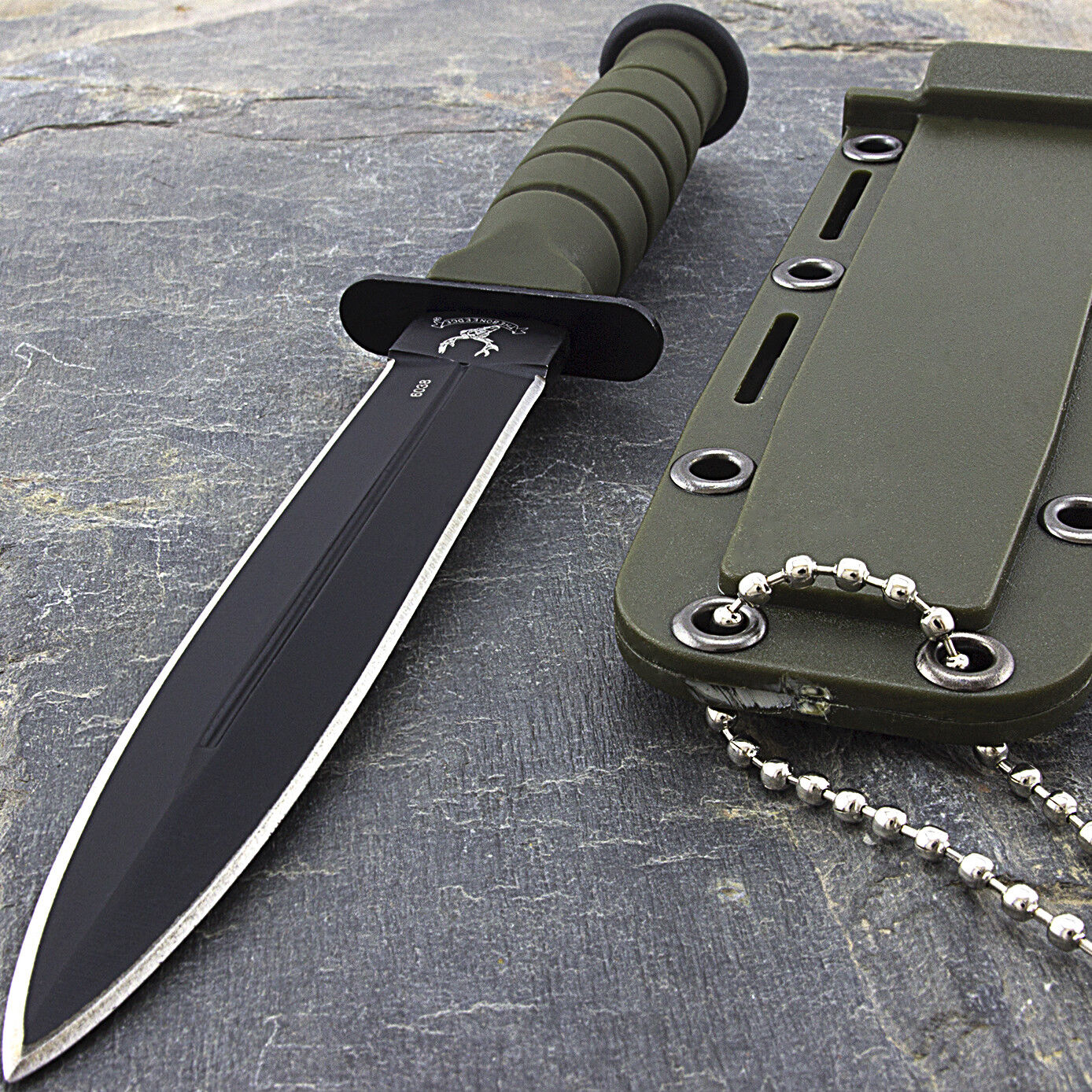 """6"""" MILITARY GREEN FIXED BLADE NECK KNIFE WITH CHAIN & SHEATH Survival Camping"""