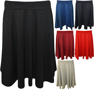New-Womens-Plus-Size-Plain-Flared-Elastic-Waist-Ladies-Short-Skater-Skirt-14-28