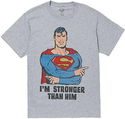 Superman I'm Stronger Than Him Adult T-Shirt -Official DC Comics Superheroes Tee Him Adult T-shirt