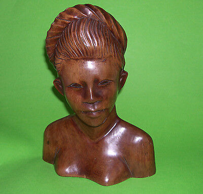 Wooden Bust - Carved Woman With Platted Hair - Good Weighty Solid Piece