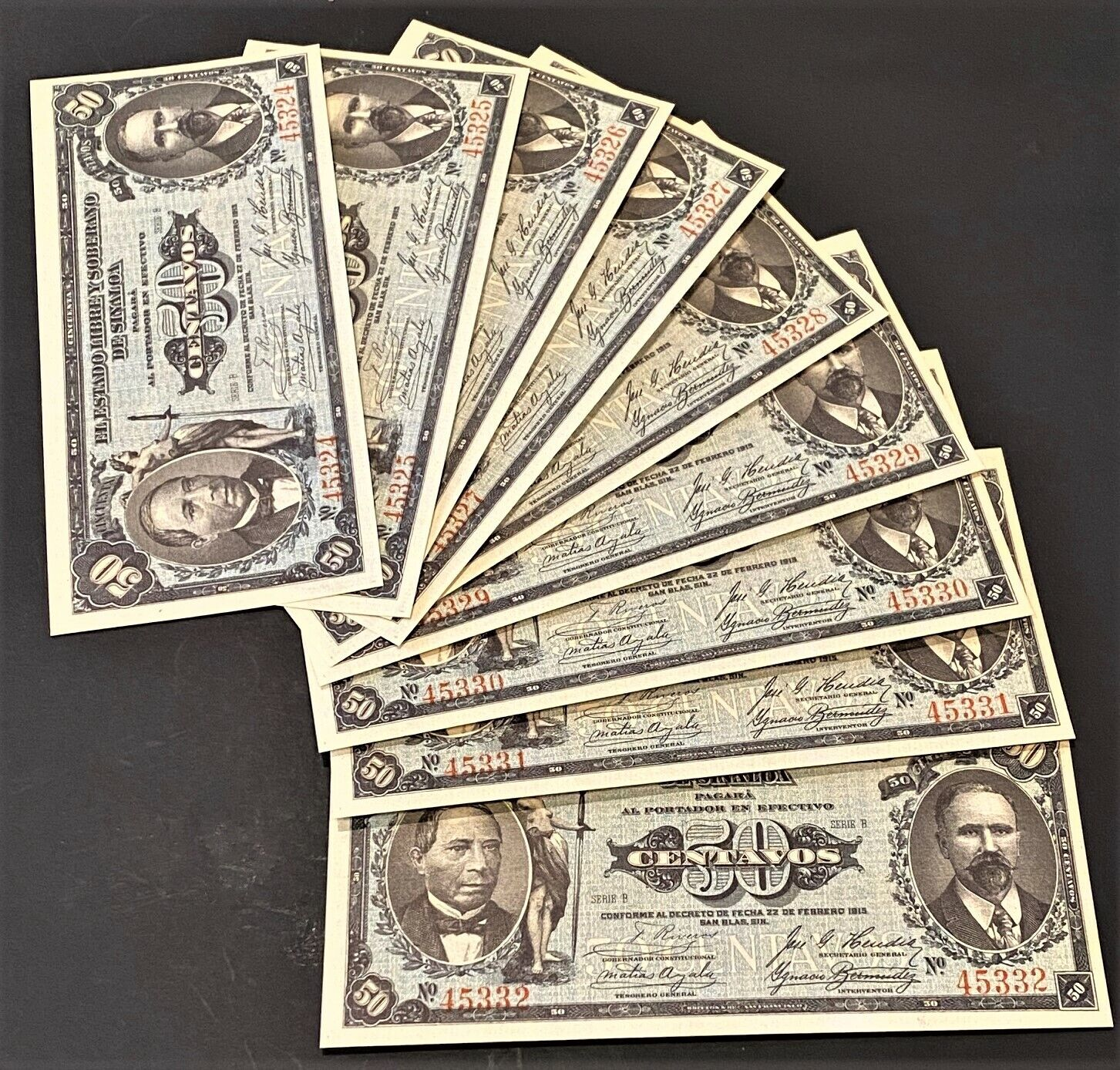 9-CONSECUTIVE CHOICE UNCIRCULATED 1915 50 CENTAVOS MEXICO AWESOME NOTES PS-1042 - $26.89