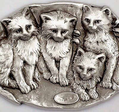 COLLECTABLE~ STERLING Overlay On Stamped Brass~CUTE KITTENS~CAT Button~ 2 1/16""