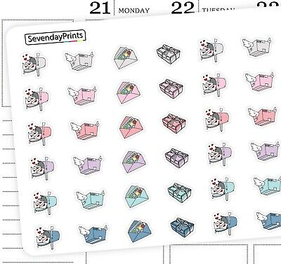 Couple Love Heart Letter Mail Box Parcel Online Order Icon Planner Stickers J17](Order Boxes Online)