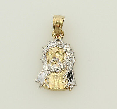 14k Gold Crown Pendant - 14K 2 Tone Yellow Gold Very Small Jesus Face Thorn Crown Pendant Baby Children