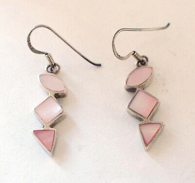 925 Sterling Silver Ear Rings Pink Rose Abalone Shell Dangle Loop Hook Vintage  ()