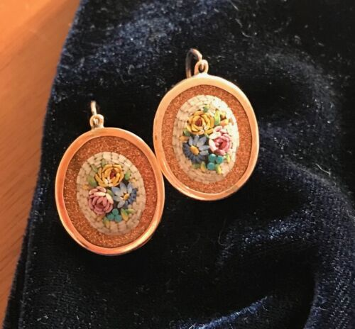 Antique Vintage 14K Rose Gold Firestone and Micro-Mosaic Earrings