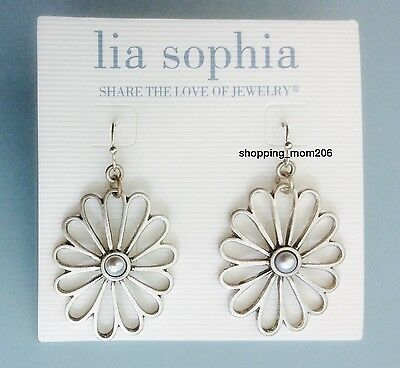 Lia Sophia  Bouquet  Silver Tone With Pearl Floral Earrings