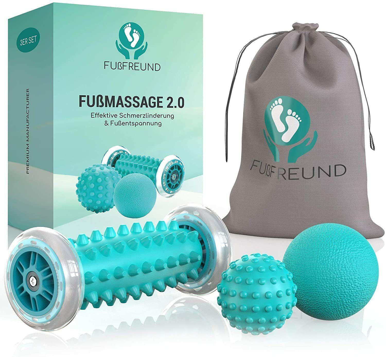 FUßFREUND© Fußmassage 3er Set Fußmassageroller Igelball Wellness Reflexzonen