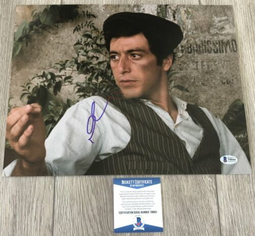 AL PACINO SIGNED THE GODFATHER SCARFACE 11x14 PHOTO w/PROOF & BAS BECKETT COA