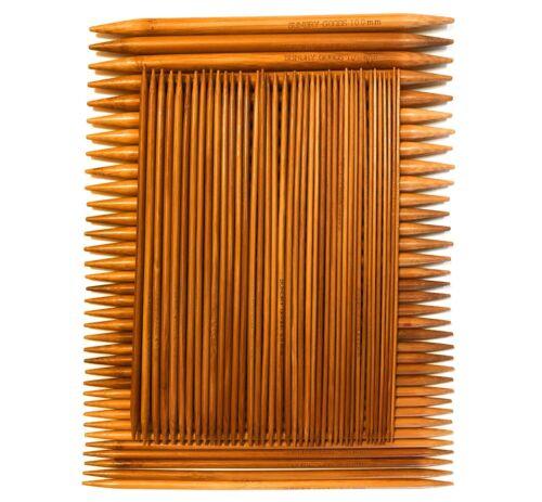Double Pointed Knitting Needles Set Carbonized Smooth Bamboo Wood 15 Sizes US