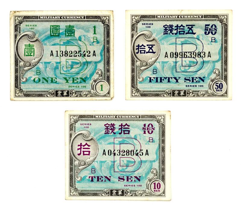Set of 3 diff. Japan WW2 allied military currency  xf-au