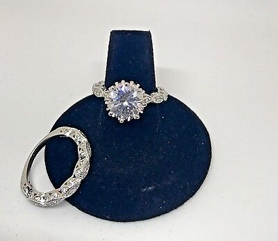 925 Wedding Band Style Ring - NEW 3 CT. CZ & 925 Sterling Vintage Style CZ Wedding Ring-Bridal-Band