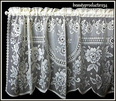 """HERITAGE LACE Ecru VICTORIAN ROSE Tier New in Pkg. 60"""" x 30"""" Made USA LACE~"""