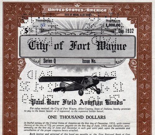 1929 Indiana: City of Fort Wayne, $1000 Paul Baer Field Aviation Bond