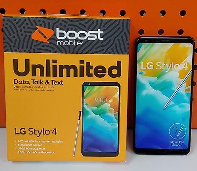 LG - Stylo 4 with 32GB Recall Cell Phone (BOOST MOBILE) - Black Android 8.1 OREO