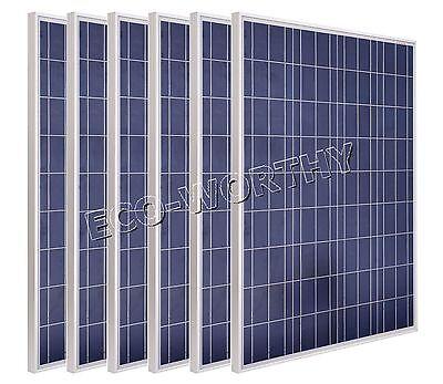 ECO 6Pcs 100Watt Polycrystalline lSolar Panel For Home Boat Rv Farming Camp DIY