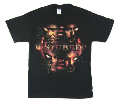 Disturbed Four Faces  Close Up 2008 Tour Black T Shirt New Official Large L