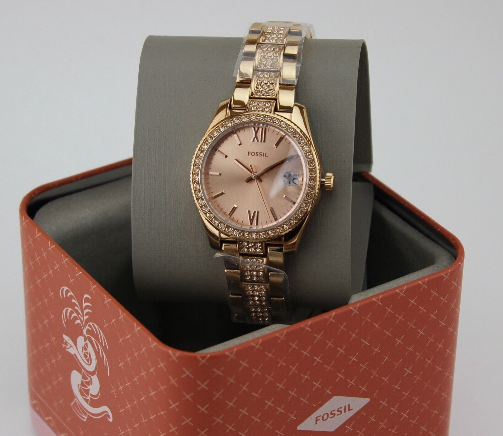 NEW AUTHENTIC FOSSIL MINI SCARLETTE ROSE GOLD CRYSTALS GLYTZ WOMENS ES4509 WATCH
