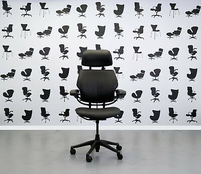 Refurbished Humanscale Freedom High Back Task Chair - Newmarket Black Leather...