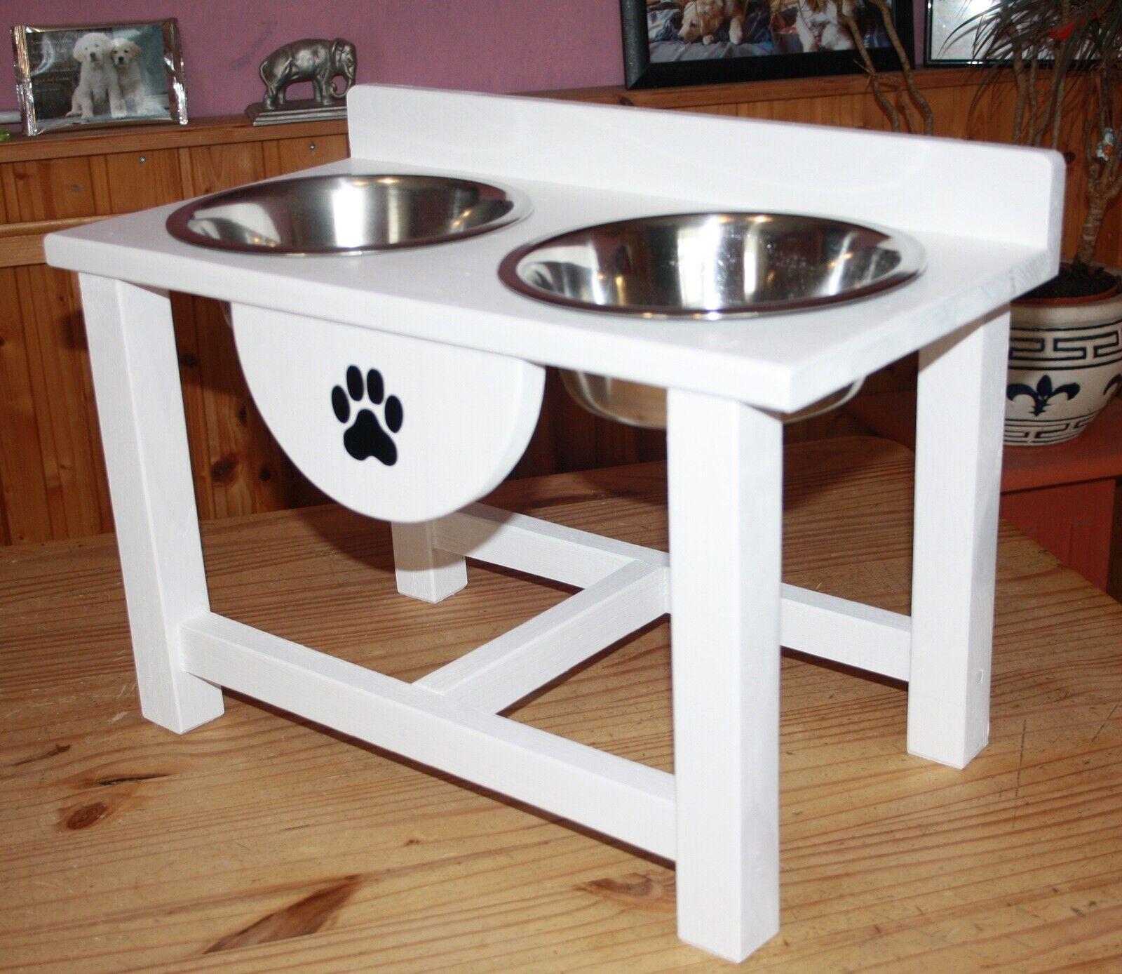 Futtertheke,Hundebar Napfständer Holz 2er Mittelgroße Hunderassen Weiß