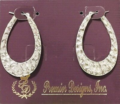 Premier Designs Jewelry Sculptured silver plated wire closure earrings Silver Plated Sculpture