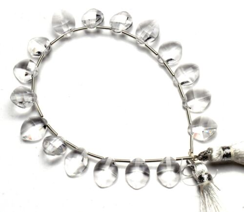 "Rock Crystal Color Hydro Quartz Faceted 10x8MM Size Briolette Shape Beads 7"""