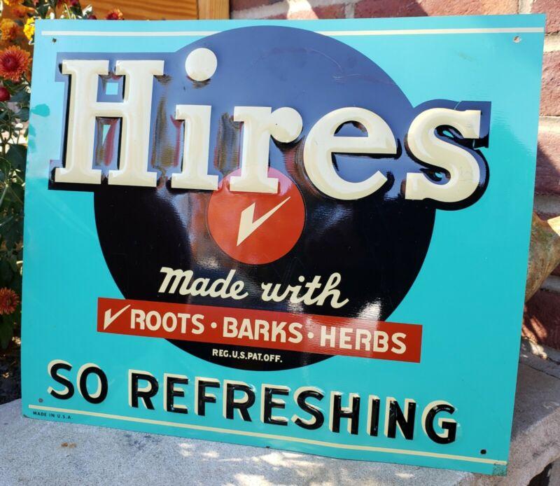 Vintage Original Hires Embossed Tin Advertising Sign