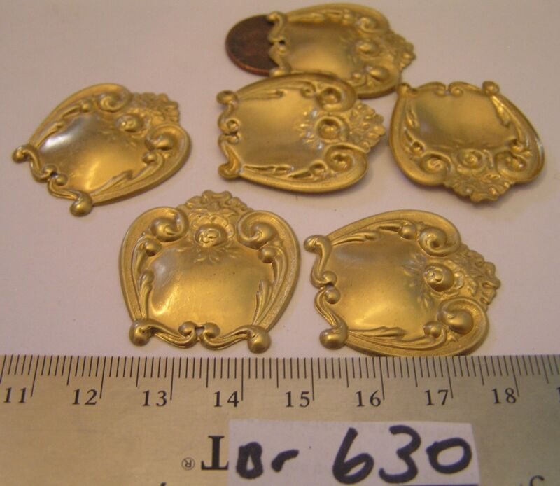 6 Vintage 32x30 mm Brass Nice Detailed Dangle Jewelry Findings Stampings Lot