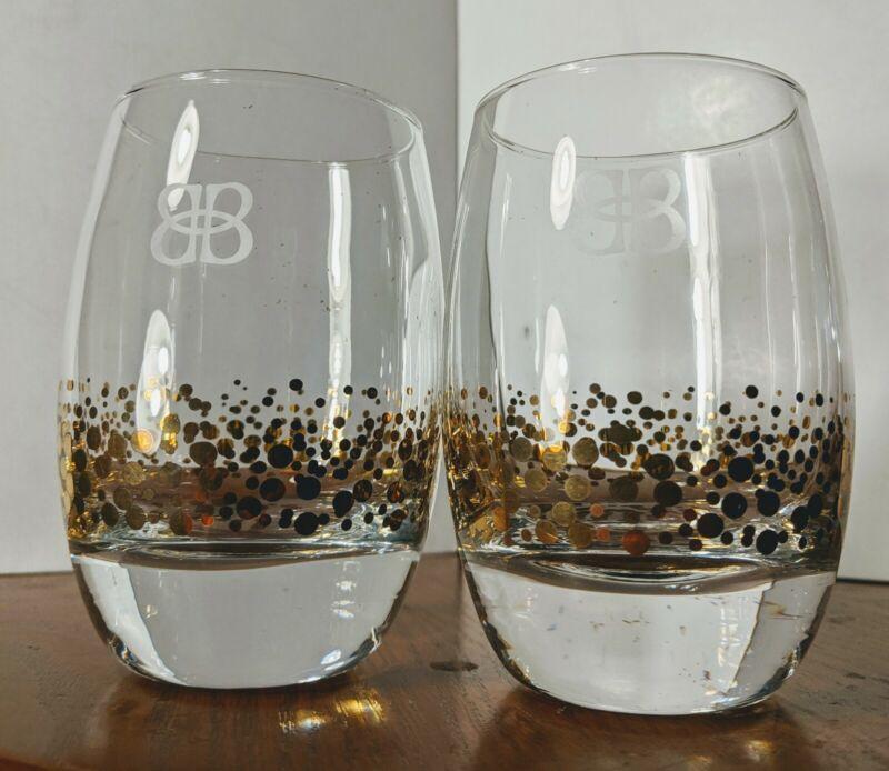 2 Baileys Irish Cream Gold Dot Confetti Low/High Ball Rocks Glasses *Set of 2*