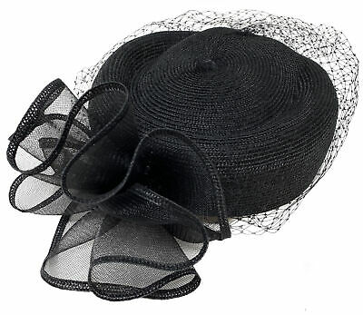 - Fashion Dress Durby Church Hat Single Bow With Mesh and Net Veil