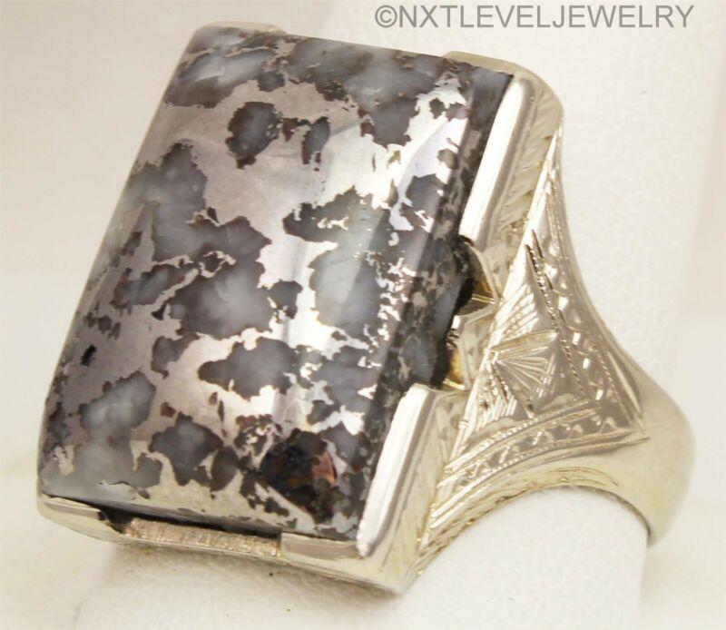 HEAVY 15.1 GRAM Antique RARE NATURAL Silver in Quartz 10k Solid Gold Men
